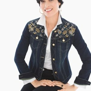 Chicos Embellished Bling Jean Jacket Size 1 (md/8)